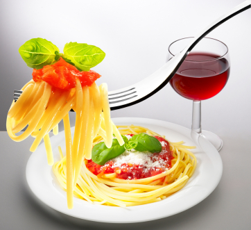 red wine aand spaghetti